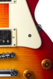 Schöner Abschluss der elektrischen Gitarre des Sonnendurchbruchs oben Stockfoto