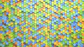 Schöner abstrakter sechseckiger mehrfarbiger Hintergrund, nahtlose Schleifungs3d Animation, 4k suchen Sie nach mehr Wahlen in mei lizenzfreie abbildung
