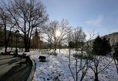 Schöner Alexander Garden nahe dem alten der Kreml-Winter, Moskau, Russland Stockfotos