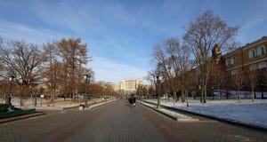 Schöner Alexander Garden nahe dem alten der Kreml-Winter, Moskau, Russland Stockfoto