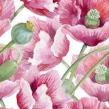 Schöner Aquarell-Sommer-Garten-blühendes Blumen-nahtloses Muster Stockfotos