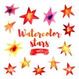 Schöner Aquarellsatz Sterne Stockfotografie