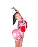 Schöner asiatischer Mädchen Gymnast mit einer Kugel Stockbild