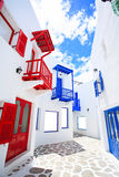 Schöner Balkon und Fenster in Santorini parken Thailand Lizenzfreie Stockbilder