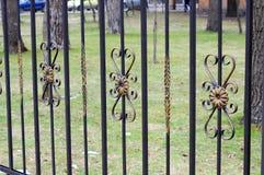 Schöner bearbeiteter Zaun Bild eines dekorativen Roheisenzauns Metallzaun-Abschluss oben schöner Zaun mit künstlerischem Schmiede Stockfoto