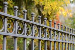 Schöner bearbeiteter Zaun Metallzaun-Abschluss oben Metall schmiedete Zaun schöner Zaun mit künstlerischem Schmieden Stockbild