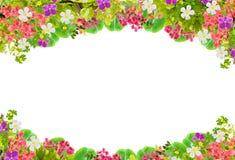 Schöner Blattrahmen mit Blume auf weißem Hintergrund Lizenzfreie Stockbilder