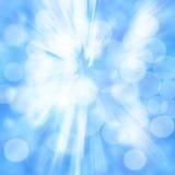 Schöner blauer Hintergrund mit etwas unscharfen Lichtern auf ihm Stockfoto