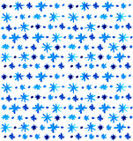 Schöner blauer Schneeflockenhintergrund des Aquarells Stockfoto