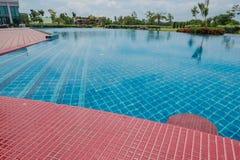 Schöner blauer Swimmingpool für Hintergrund Lizenzfreies Stockbild