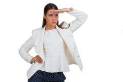 Schöner Blick der jungen Frau in den Abstand Lizenzfreies Stockbild