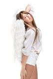 Schöner blonder Engel gegen weißen Hintergrund Lizenzfreie Stockfotos