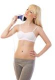 Schöner blonder Frauenholding Massager Stockfotos