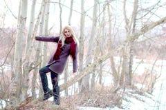 Schöner blonder Griff an zum Baum, Blick auf uns, helles backgrou Stockfotos