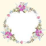 Schöner Blumenkranz für Karte lizenzfreie abbildung
