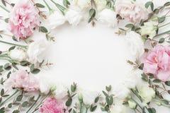 Schöner Blumenrahmen von Pastellblumen und von Eukalyptus verlässt auf weißer Tischplatteansicht flache Lageart Lizenzfreies Stockbild