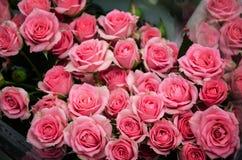 Schöner Blumenstrauß der rosafarbenen Rosen lizenzfreies stockfoto