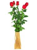 Schöner Blumenstrauß der roten Rosen. Getrennt. Lizenzfreies Stockbild