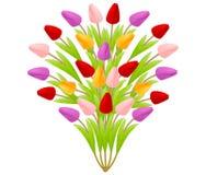 Schöner Blumenstrauß von Tulpen in Form eines Baums von den Blumen, helles buntes mehrfarbiges lokalisiert auf einem weißen Hinte stock abbildung