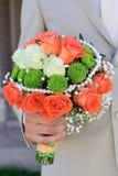 Schöner Brautblumenstrauß von verschiedenen Blumen Lizenzfreies Stockfoto