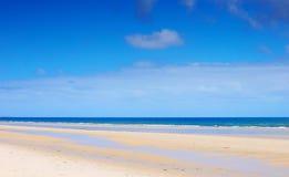 Schöner breiter offener Strand mit blauen Himmeln im Sommer Stockbild