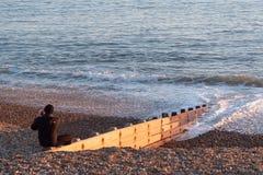 Schöner Brighton-Strand ist ein populärer Platz im Sommer - BRIGHTON, VEREINIGTES KÖNIGREICH - 27. FEBRUAR 2019 stockbilder
