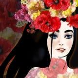 Schöner Brunette auf Blumenhintergrund vektor abbildung