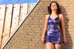 Schöner Brunette, der purpurrotes Kleid trägt Stockfotos