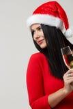 Schöner Brunette in der Weihnachtsnahaufnahme Stockfotografie