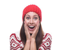 Schöner Brunette in der Winterkleidung Lizenzfreies Stockfoto