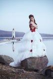 Schöner Brunette in einem Kleid stockbild