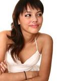 Schöner Brunette glückliches Momen Lizenzfreie Stockbilder