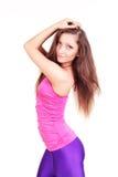 Schöner Brunette-junge Frau auf weißem Hintergrund Lizenzfreie Stockfotografie