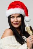 Schöner Brunette mit Champagnerglas Stockfotos