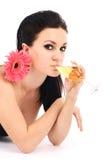 Schöner Brunette mit einem Champagnerglas Stockfotos