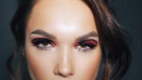 Schöner Brunette mit gemalten Augenbrauen und den Wimpern Bilden Sie auf weiblichem Gesicht stock footage