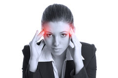 Schöner Brunette mit schrecklichen Kopfschmerzen Stockfotos