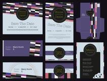Schöner bunter geometrischer Identitätseinladungshochzeits-Kartensatz Stockfotos