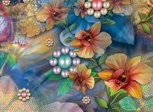 Schöner bunter Hintergrund und Blumenmuster stockbild