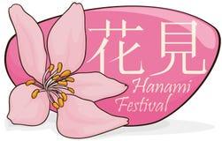 Schöner Cherry Bloomed über Zeichen für Hanami-Festival, Vektor-Illustration vektor abbildung