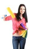Schöner Dekorateur der jungen Frau stockfoto