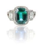 Schöner Diamantring mit Edelsteinmittestein des blauen Grüns Stockbilder