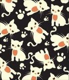 Schöner dunkler Hintergrund mit weißem Katzenmuster Lizenzfreies Stockbild