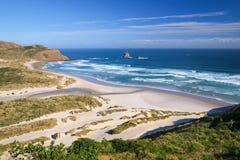 Schöner einladender Strand an der Sandfly-Bucht, Otago Peinsula, neuer Zea Lizenzfreies Stockfoto