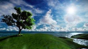 Schöner einsamer Baum auf der alleinen Insel umgeben durch See vektor abbildung