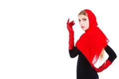 Schöner entzückender Rotschal des jungen Mädchens Stockfoto