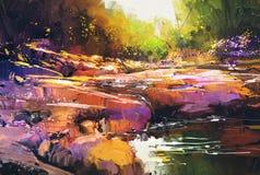 Schöner Fall-River zeichnet mit bunten Steinen im Herbstwald stock abbildung