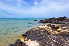 Schöner Felsen auf Samila Strand Stockbild