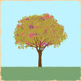Schöner Fleckbaum in der Retro- Art Lizenzfreie Stockbilder