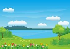 Schöner Fluss-Landschaftsvektor-Hintergrund mit irgendeiner Blume und Schmetterling lizenzfreie abbildung